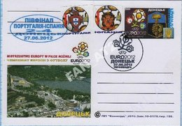 UKRAINE Post Card Poland Football Soccer. UEFA. EURO 2012 Semifinal Match Result Portugal - Spain. Donetsk - Ukraine