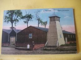 L12 8939 - RARE CPA COLORISEE. 1927 - 59 ESTAIRES. EGLISE PROVISOIRE - ANIMATION. - France
