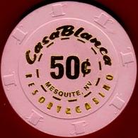 50¢ Casino Chip. Casablanca, Mesquite, NV. I09. - Casino