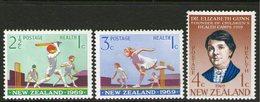 NEW ZEALAND, 1969 HEALTH/CRICKET 3 MNH - New Zealand