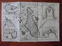Madagascar : Rare Carte De 1725 Par Constantin De Renneville Avec Quatre Encarts Dont L'Ile Sainte-Marie - Geographical Maps