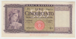 Italy 500 Lire 1947 AVF+ Pick 80a - [ 1] …-1946 : Koninkrijk