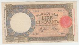 Italy 50 Lire 1943 VF++ Pick 58 - 50 Lire