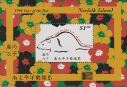 Norfolk Island ASC 606 MS 1996 Chinese Year Of The Rat, Miniature Sheet, Mint Never Hinged - Norfolk Island