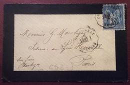 CS3-1 Convoyeur Station «Sabl.T» Chantonnay Vendée Sage 25c Verso  Distribon 6/4/1878 - Postmark Collection (Covers)