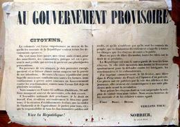 REVOLUTION 1848 PLACARD DE SOBRIER APPELANT A LA PROTECTION DE LA NOUVELLE REPUBLIQUE - Documents Historiques