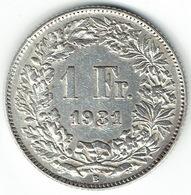 Switzerland, 1 Franc, 1931 B - Zwitserland