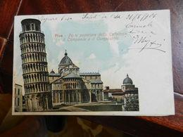 18059) PISA PARTE POSTERIORE CATTEDRALE CAMPANILE CAMPOSANTO VIAGGIATA 1906 - Pisa