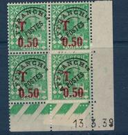 ALGERIE        N° YVERT  :  COIN DATE  N°  TAXE 28     ( 13.03.39 )          NEUF SANS  CHARNIERES - Algérie (1924-1962)