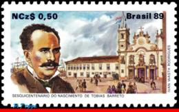 Ref. BR-2171 BRAZIL 1989 FAMOUS PEOPLE, TOBIAS BARRETO, POET,, CHURCH, SHIPS, MI# 2302, MNH 1V Sc# 2171 - Bateaux