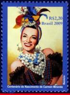 Ref. BR-3099 BRAZIL 2009 FAMOUS PEOPLE, CARMEN MIRANDA, 100 YEARS, FASHION, ACTRESS, ART, MNH 1V Sc# 3099 - Brésil