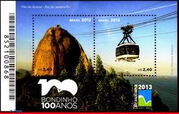 Ref. BR-3232 BRAZIL 2012 - 'PAO DE ACUCAR', CENT.,, CABLE CAR, RIO , BRASILIANA 2013,S/S MNH, TRANSPORT 2V Sc# 3232 - Blokken & Velletjes