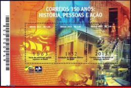 Ref. BR-3257 BRAZIL 2013 POST, BRAZILIAN POST 350 YEARS,, HISTORY AND ACTION, SHIPS, S/S MNH 3V Sc# 3257 - Brasile