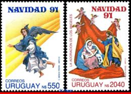 Ref. UR-1411-12 URUGUAY 1991 CHRISTMAS, ANGELS, RELIGION,, SET MNH 2V Sc# 1411-1412 - Natale