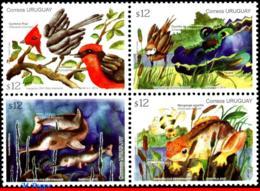 Ref. UR-V2012-02 URUGUAY 2012 ANIMALS, FAUNA, SPRINGTIME, BIRDS, BEE,, ALLIGATOR, DOLPHIN, SET MNH 4V - Uruguay