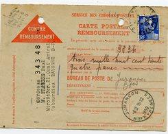 BASSES PYRENEES De JURANCON Dateur A 5 De 1950 Sur CP Remboursement De BAYONNE - Marcophilie (Lettres)