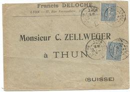 SEMEUSE 25C LIGNEEX2 LETTRE DAGUIN JUMELE LYON GROLEE 29.10.1903 POUS SUISSE - 1877-1920: Semi Modern Period