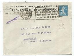SEMEUSE N°140 ROULETTE SEUL LETTRE PARIS 1925 POUR BELGIQUE TARIF IMPRIME USAGE RARE - Postmark Collection (Covers)