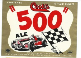 """Ancienne étiquette Bière  Cook's Ale 500 """"course Automobile"""" Us - Bière"""