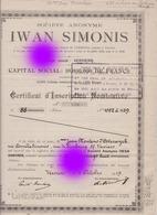 Verviers 1919 Usine De Laine Et Textiles Iwan Simonis - Actions & Titres