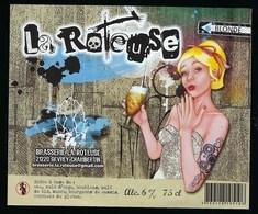 """Etiquette Biere Blonde """" La Roteuse """" 6% 75 Cl  Brasserie La Roteuse Gevrey Chambertin 21 """"femme Blonde"""" - Bière"""