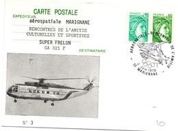 Marignane 1979 - BT Rencontres Aérospatiale - Concorde Hélicoptère Super-Frelon Avion Anneaux Olympiques - Marcofilie (Brieven)