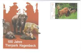4259  Zoo Hamburg: Chevreuil, Eléphant, Zèbre, Tigre, Lion  -  Zebra, Tiger, Polar Bear, Deer  Stationery Cover - Felini