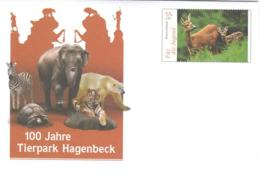 4259  Zoo Hamburg: Chevreuil, Eléphant, Zèbre, Tigre, Lion  -  Zebra, Tiger, Polar Bear, Deer  Stationery Cover - Felinos