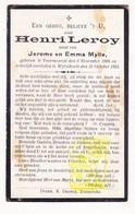 DP Henri Leroy / Mylle 16j. ° Voormezele Ieper 1908 † Wijtschate Heuvelland 1925 - Images Religieuses