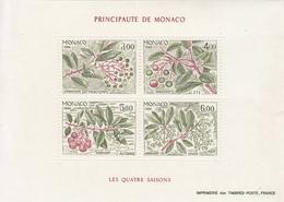 1986 Monaco Trees Arbres 4 Seasons Souvenir Sheet Complete  MNH - Bäume
