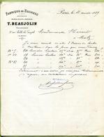 """PARIS  (1887) : """" FABRIQUE DE BRONZES - T. BEAUJOLIN """" - France"""