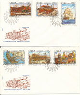 Cuba FDC 15-9-1980 Anniversary Of Construction Of Naval Vessels Complete Set Of 6 On 2 Covers With Cachet - FDC