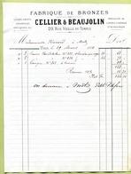 """PARIS  (1884) : """" FABRIQUE DE BRONZES - CELLIER & BEAUJOLIN """" - France"""