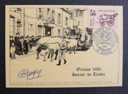 FRANCE - 1986 - FDC 2411 - JOURNEE DU TIMBRE 1986 - CHAR BOEUD GRAS MI CAREME ORLEANS - FDC