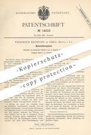 Original Patent - Friedrich Erdmann , Gera / Reuss , 1880 , Webschützenspindel | Webschütze | Spindel | Webstuhl , Weber - Historische Dokumente