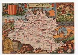 - CPSM CARTES GÉOGRAPHIQUES - Département N° 9 ARIÈGE - Editions BLONDEL LA ROUGERY 1946 - - Landkarten