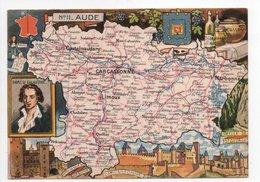 - CPSM CARTES GÉOGRAPHIQUES - Département N° 11 AUDE - Editions BLONDEL LA ROUGERY 1946 - - Landkarten