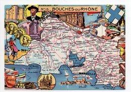 - CPSM CARTES GÉOGRAPHIQUES - Département N° 13 BOUCHES DU RHONE - Editions BLONDEL LA ROUGERY 1945 - - Landkarten