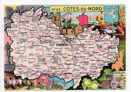 - CPSM CARTES GÉOGRAPHIQUES - Département N° 22 COTES-DU-NORD - Editions BLONDEL LA ROUGERY 1945 - - Landkarten