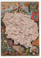 - CPSM CARTES GÉOGRAPHIQUES - Département N° 23 CREUSE - Editions BLONDEL LA ROUGERY 1945 - - Landkarten