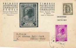 669/28 -  IMPRIME TP 465 Antituberculeux Joséphine-Charlotte - PREMIER JOUR ANTWERPEN 1/12/1937 - Maximum Cards