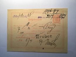 """Österreich """"HROBEC"""" 1897 (Böhmen Tschechien) RR Auf Telegramm Ganzsache (Brief Telegraph Cover Czechoslovakia Austria - 1850-1918 Imperium"""
