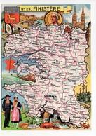 - CPSM CARTES GÉOGRAPHIQUES - Département N° 29 FINISTÈRE - Editions BLONDEL LA ROUGERY 1945 - - Landkarten