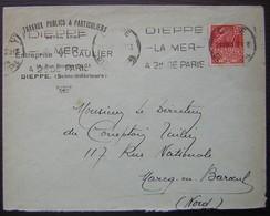 Dieppe 1931 (Seine Inférieure) Entreprise V. Caulier Travaux Publics Et Particuliers Béton Armé - Storia Postale