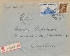 670/28 -  Enveloppe Recommandée TP 475 Basilique + Col Ouvert HASSELT 1938 Vers COURTRAI - Maximum Cards