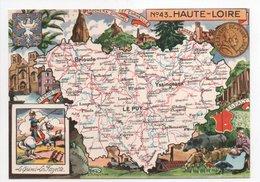 - CPSM CARTES GÉOGRAPHIQUES - Département N° 43 HAUTE-LOIRE - Editions BLONDEL LA ROUGERY 1946 - - Landkarten