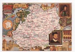 - CPSM CARTES GÉOGRAPHIQUES - Département N° 46 LOT - Editions BLONDEL LA ROUGERY 1946 - - Landkarten