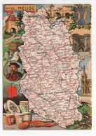 - CPSM CARTES GÉOGRAPHIQUES - Département N° 55 MEUSE - Editions BLONDEL LA ROUGERY 1945 - - Landkarten