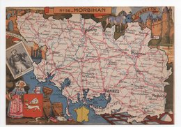 - CPSM CARTES GÉOGRAPHIQUES - Département N° 56 MORBIHAN - Editions BLONDEL LA ROUGERY 1946 - - Landkarten