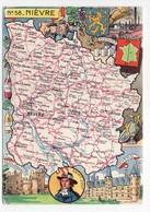 - CPSM CARTES GÉOGRAPHIQUES - Département N° 58 NIÈVRE - Editions BLONDEL LA ROUGERY 1945 - - Landkarten